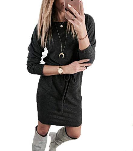 Yutila Damen Langarm Strickkleid Pulloverkleid Etuikleid Freizeitkleid Stiefelkleid Casual Strick Pullover für Herbst und Winter