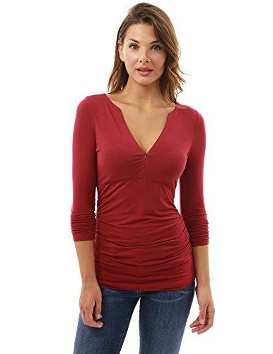 PattyBoutik femmes v cou taille empire froncé blouse rouge foncé