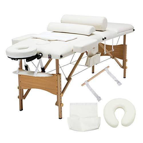Uenjoy Massageliege Mobile Massagebett Tragbare Massagetisch 3 Zone Höhenverstellbare Massagebank mit KostenlosenTragetasche für SPA, Tattoo, Therapie Bett, Weiß