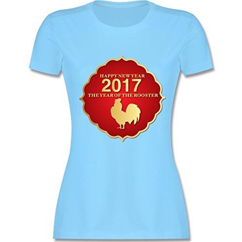 Weihnachten & Silvester - Happy New Year 2017 Year of the Rooster - tailliertes Premium T-Shirt mit Rundhalsausschnitt für Damen Hellblau