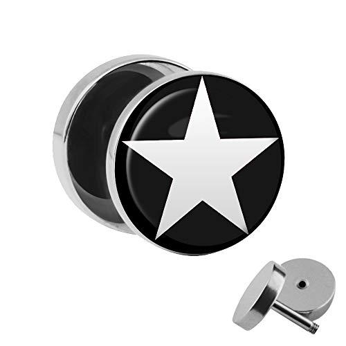 Treuheld | Ohrstecker zum Schrauben - weißer Stern - Schwarz - Silber - Fake-Plug mit Gewinde - Edelstahl Fake-Tunnel Ohr-Ring - 5-Zack Sterne Star - Ohr-Piercing
