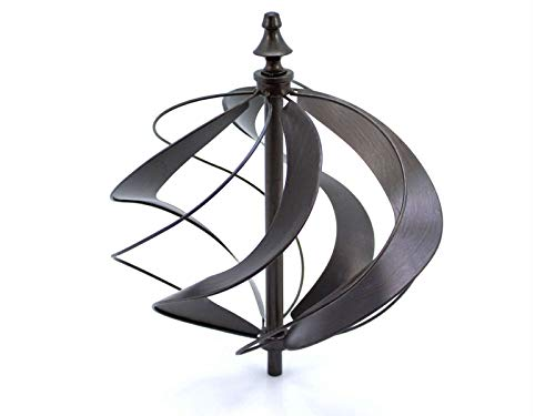 HAFIX Windrad Metall Windspiel Metallwindrad Doppelwindrad Gartendeko rund Wind Mühle mit Erdspieß - 3