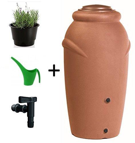 Regentonne Wassertonne Regenfass Wassertank Amphore 210L mit Wasserhahn (Terracotta)