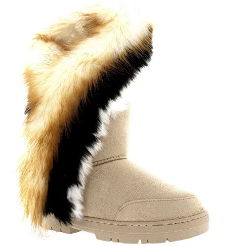 Holly Damen Tall Tassel Rabbit Pelz Gefüttert Winter Kaltes Wetter Schnee Regen Stiefel - Beige - BEI39 AEA0401 -
