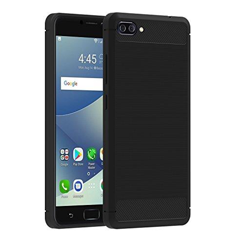 iVoler Hülle für Asus Zenfone 4 Max ZC554KL / Asus Zenfone 4 Max Pro ZC554KL / Asus Zenfone 4 Max Plus ZC554KL 5.5 Zoll, Carbon Faser Tasche Schutzhülle Soft Flex TPU Silikon Handyhülle - Schwarz