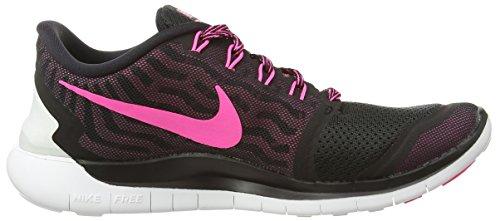 Nike Wmns Free 5.0 - Scarpe sportive Donna Black/Pink Pow-Pnk Fl-Pnk Glw