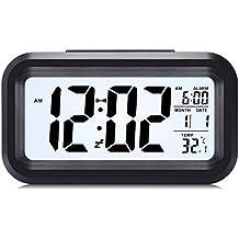 Despertadores electrónicos Relojes de alarma electrónicos digitales multifuncionales, Reloj LED Reloj de alarma digital delgado Reloj Pantalla de temperatura de visualización grande, Función Snooze, Smart Night Light
