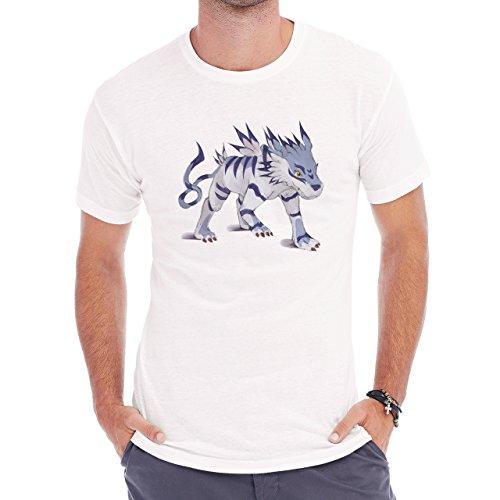 Digimon Garurumon Wolf Gabumon Agressive Herren T-Shirt Weiß