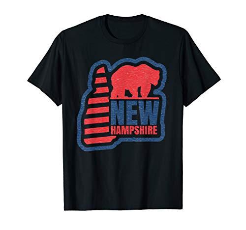 New Hampshire State Map (New Hampshire State Map Vintage Bear USA Flagge Love Pride T-Shirt)