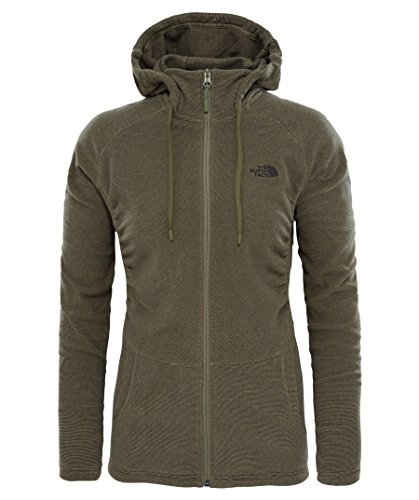 North Face W Mezzaluna Full Zip Hoodie Sweatshirt, Damen, Grün (Burnt Olive Green Stripe)
