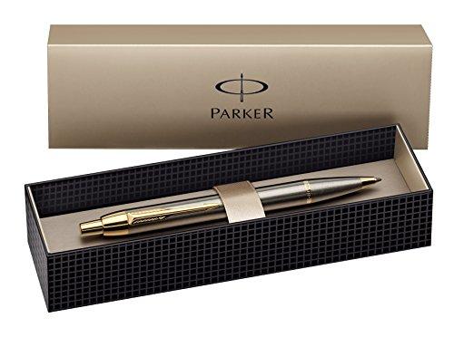 Preisvergleich Produktbild Parker S0856480 IM-Premium-Kugelschreiber (Gebürstetes Metall mit vergoldeter Einfassung, Strichstärke Mittel) schreibfarbe blau