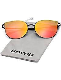 BOYOU Retro Vintage Sonnenbrille Mirrored Ultra Thin Ultra Light Metal CettX7