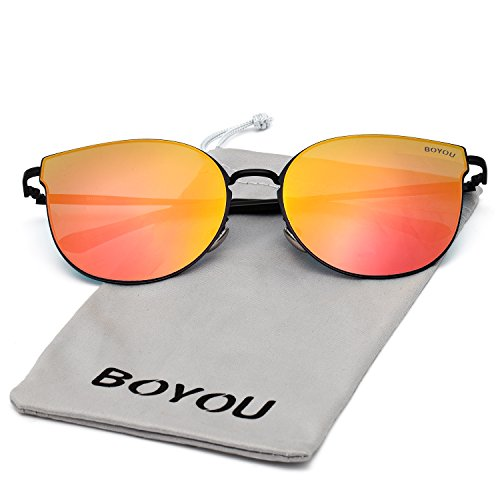 BOYOU Elegant Classic Metal Frame Unisex Aviator Sunglasses with UV 400 Protection