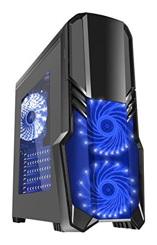 CiT G Force Gaming Gehäuse mit 15LED, Blau, Front-Ventilator schwarz Blk RGB (Blk-steuerung)