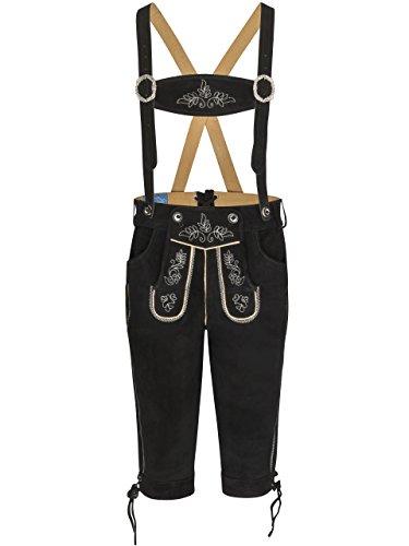 Herren Lederhose Wildalpen schwarz - Kniebundhose inkl. Hosenträger - Trachtenlederhosen (46, Schwarz)