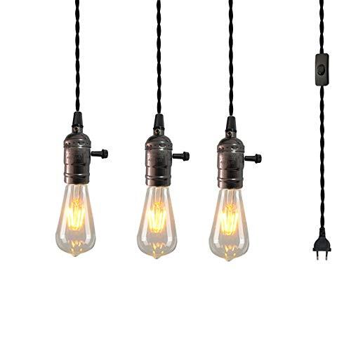 E27 Vintage Pendelleuchte DIY Chandelier Loft Deckenleuchte 1.8M Kabel mit Schalter und Stecker Edison Hängelampe (Size : EU)