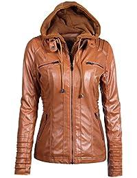 Moquite Damen Jacken Bikerjacke Faux Lederjacke Kurze Reißverschluss mit  Kapuze Einfarbig Langarm… e94720c524