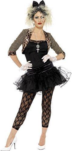 s Jahre Wildes Kind Madonna Punk Pop Ikone Promi Kostüm Kleid Outfit - Schwarz, 20-22 (Madonna Kostüm Für Kinder)