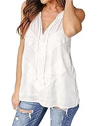Reaso Femme Débardeurs Été Sans Manches Gilet Dentelle T-shirt Col V Vest Retro Tank Top Casual Blouse Mode Haut Chic Hemd Coton Shirt Elegant Chemise Slim Fit Camisole