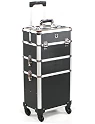 Urbanity Professional Aluminium Beauty Makeup Cosmetic Trolley Case Black
