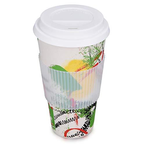 Navaris Coffee To Go Becher Bambus - 650ml Bamboo Kaffeebecher mit Silikon Deckel und Griffring - Wiederverwendbar BPA Frei - Eco Design Cup