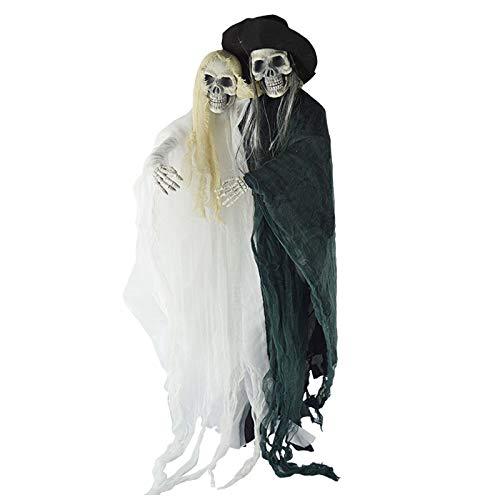 ängendes Skelett Hängedeko Gruselige Spielzeug mit Geist Braut und Bräutigam Figur ()