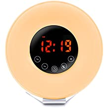 Sunrise Alarm Clock, 7 Colourful Bedside Lamp with Sunrise and Sunset Simulation,Wake-Up Light Alarm Clock,6 Alarm Sounds FM Radio, Multi Light Modes, Touch Control Morning Alarm Light with Snooze Function Night Light with USB Charger