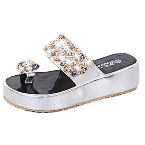 Kaiki Kristall Frauen Flip Flops Sommer Style Platform Hausschuhe Silver