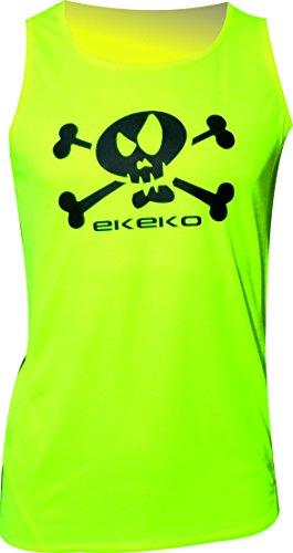 Running Singlet T-SHIRT EKEKO FLAG PIRAT, T-SHIRT OHNE ÄRMEL, T-Shirt für das Laufen, Leichtathletik, sehr atmungsaktiv und leicht, PERFEKT FÜR DIE GYM (XXL, FLUORIO GELB) (Running T-shirt Ärmel)