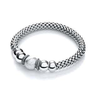 J Jaz Sterling Silver Mesh Ruthenuium Finish Fancy Stretch Bracelet