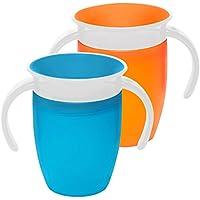 Munchkin - Tasse d'apprentissage Miracle 360 –Bleu et orange (lot de 2)