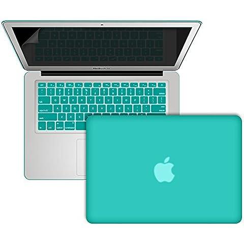 SlickBlue suave al tacto de plástico cubierta de la caja fuerte con la cubierta del teclado de estilo europeo y protector de pantalla para MacBook Air de 13 pulgadas (Modelo: A1369 y A1466) -