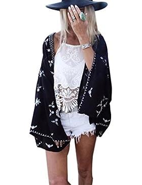 DEELIN Camisa Kimono Estampado Mujer CáRdigan CáRdigan Tops Blusa Chal Protector Solar Cubrir