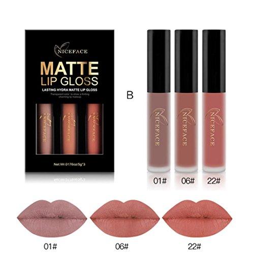 Lippenstift, HARRYSTORE 3PCs Frauen Mode Wasserdichter Matte Liquid Lipstick Feuchtigkeitsspendende Lip Gloss Kit (B) (Lip Gloss-licht-spiegel)