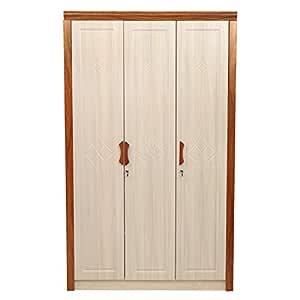 Woodness Amanda 3-Door Wardrobe (Matte Finish, Ivory)
