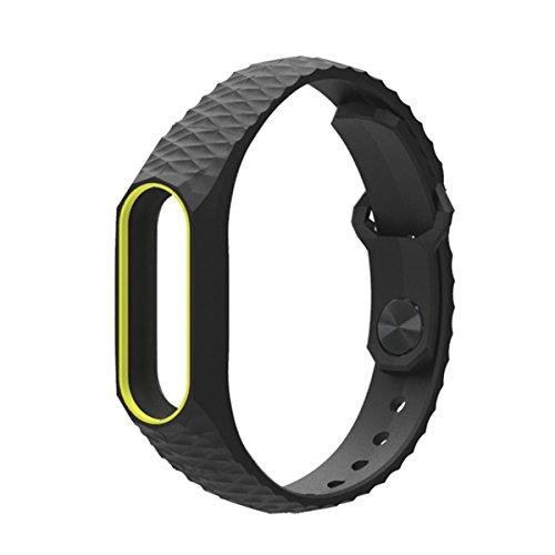 Pulsera Mi Band 2,Correa Mi Band 2 La Smart Band 2 de Xiaomi 3D de Moda Smart Watch Strap Correa para Miband2(Sin Rastreador de Actividad)(Negro Amarillo)