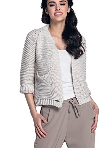 Damen Kurze Strickjacke Cardigan Blazer 3/4 Ärmeln in Schwarz, Grau, Braun, Blau