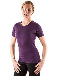 EDZ Merino Wool Women's Base Layer Scoop Neck T-shirt Purple