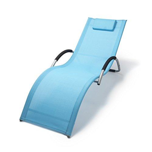 Ampel 24 Wellnessliege mit Armlehne Bahamas | wetterfeste Gartenmöbel Metall Alu | ergonomische Sonnenliege | blau/grau