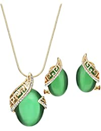 NEOGLORY Conjunto Collar Pendientes con Ojo de Gato Verde Chapado en Oro 14k Joya Original Mujer