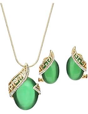Neoglory Jewellery 14 K Gold Schmuckset mit Opal und Strass grün