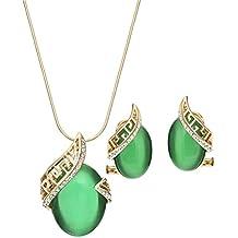 NEOGLORY Conjunto Collar Pendientes Dorado con Ojo de Gato Verde Joya Original Regalo Mujer Chica
