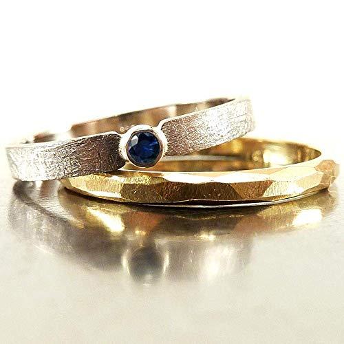 Anello di fidanzamento di oro bianco con zaffiro blu - fatto a mano da Silverlounge