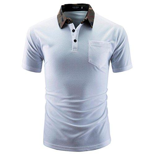 Polo Hemd Herren Männer Einfarbig T-Shirt Männer Lässige Kurzarm Mode Shirts GreatestPAK,Weiß,L (Hardy Frauen T-shirt Ed)