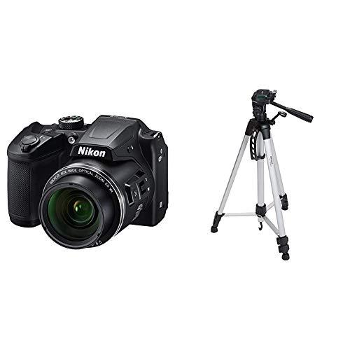 Nikon Coolpix B500 Kamera schwarz & AmazonBasics Leichtes Stativ, bis 1,52 m, inkl. Tasche, mit 3-Wege-Schwenkkopf und Wasserwaage
