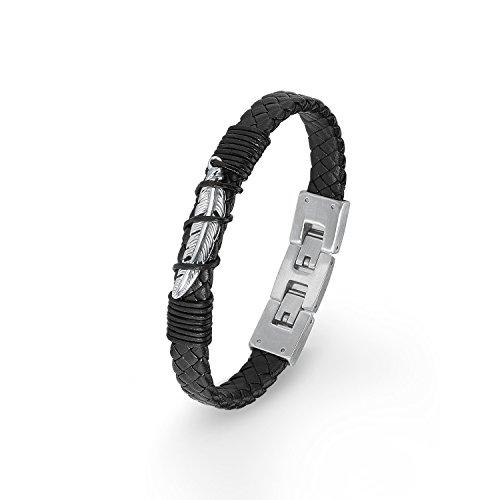 s.Oliver Kinder-Armband 18+2 cm Feder Jungen Edelstahl Leder 20 cm 2015033