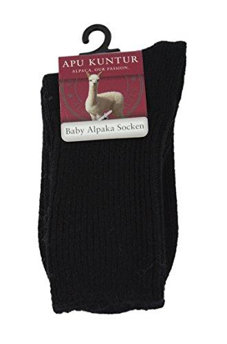 BABY-ALPAKA SOCKEN für Kinder Söckchen Strümpfe mit Pima Baumwolle APU KUNTUR schwarz Gr. 24-26 (Wolle Kinder Merino Socken)