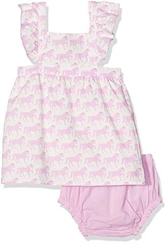 Hatley Baby-Mädchen Kleid Pinafore Poplin Dress & Bloomer Set White (Miniature Horses), 68