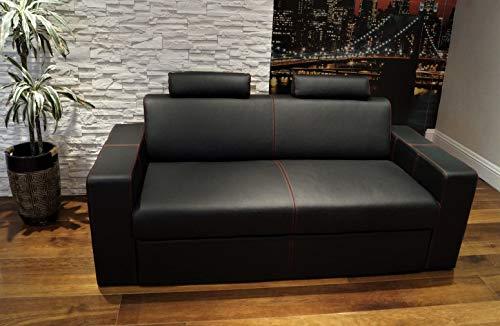 Quattro Meble Echtleder 2,5 Sitzer Sofa Antalya I 2z FS Breite 180cm mit Schlaffunktion und Kopfstützen Ledersofa Echt Leder Couch große Farbauswahl !!!