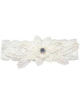 Worsendy Liga elástica de,Liga para boda,Jarretera cinturón con encaje de marfil , accesorio para novias